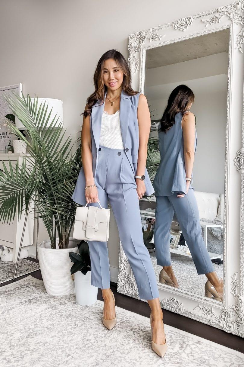 2 piece summer suit styled by Eileen Lazazzera of YesMissy