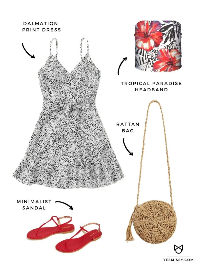 Date night look with Dalmatian print dress, miniamlist sandals, rattan bag and Tropical Paradise Headband