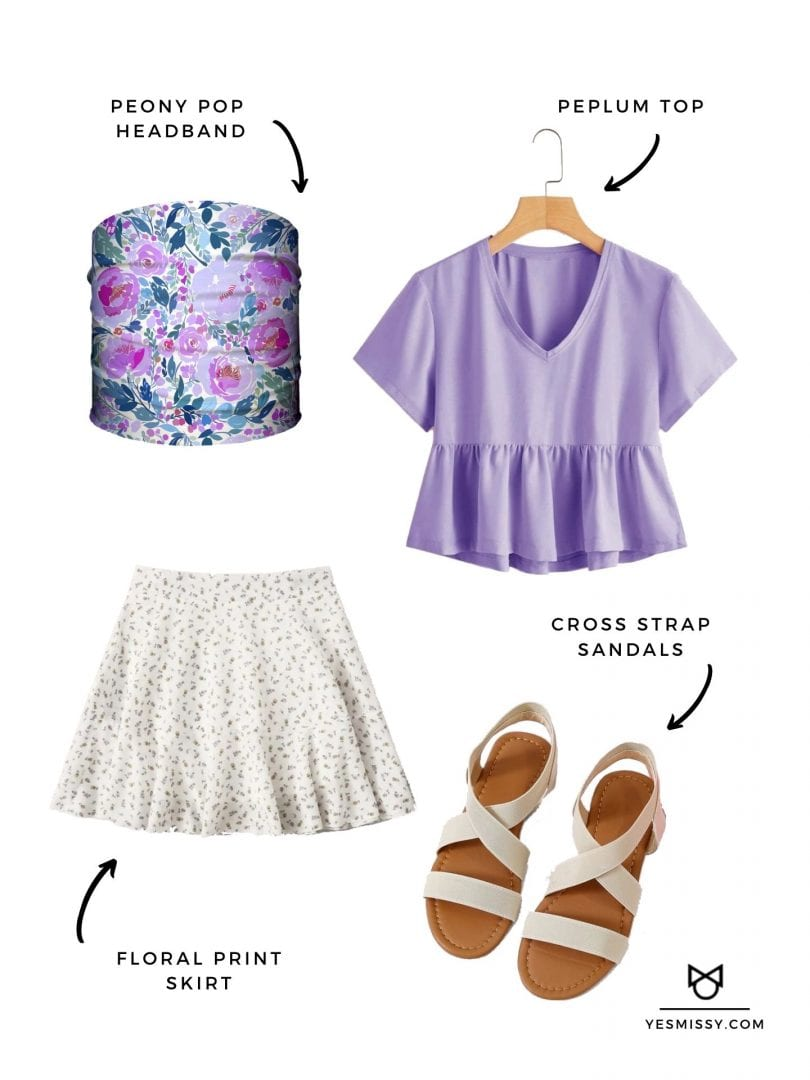 Cute brunch look with pastel peplum top, floral skirt, cross strap sandals and Peony Pop Headband from Hoo-rag