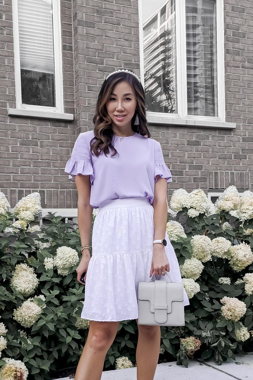 Cute summer outfit inspiration with the millenial purple trend styled by Eileen Lazazzera of YesMissy Lifestyle Blog