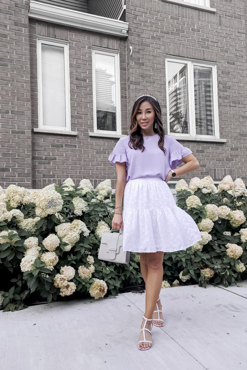 Summer outfit inspiration with millienial purple - Pastel purple top and white skirt with mint moto jacket from Ann Taylor