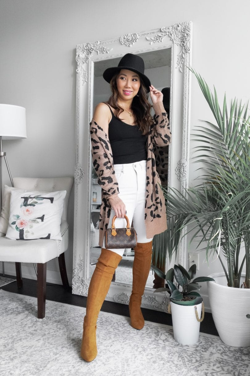 Fall OOTD - Casual look with white jeans, brown OTK boots, leopard cardigan styled by Eileen Lazazzera of YesMissy.com