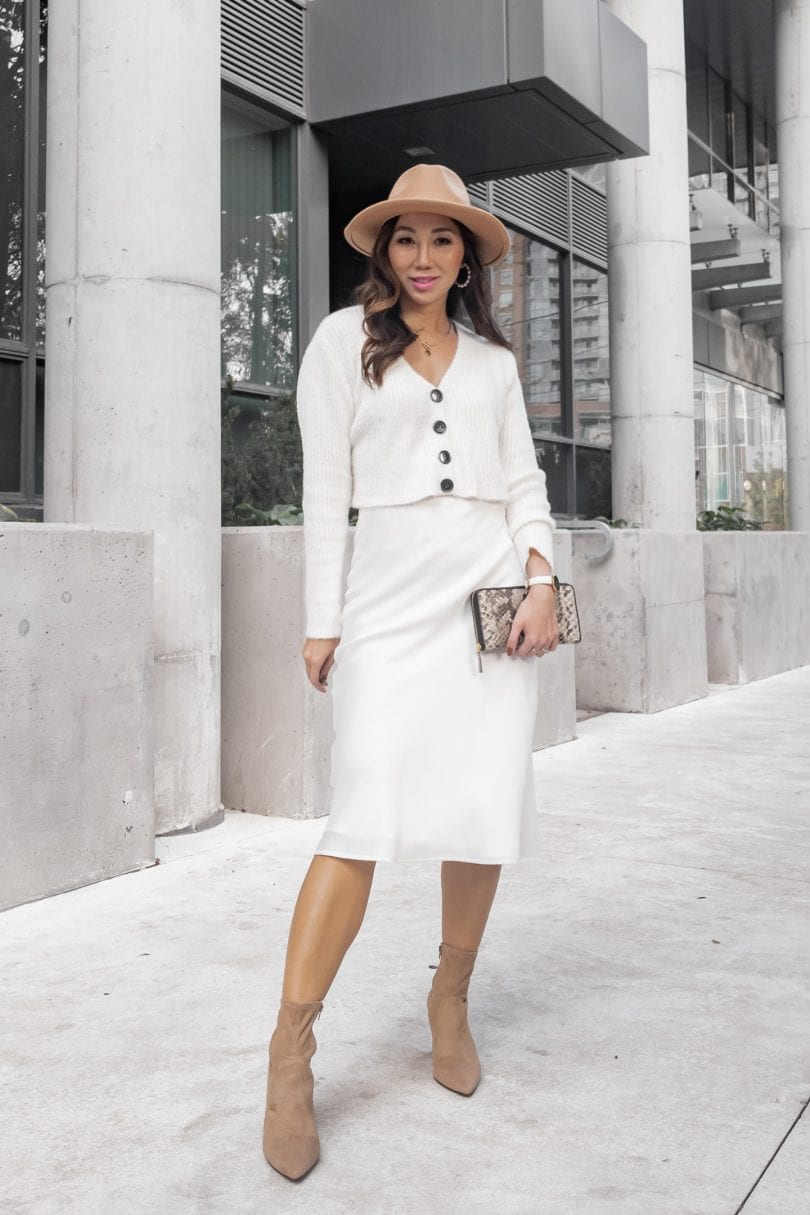 All white look with cardigan and silk skirt, tan fedora and boots style by YesMissy...for outfit inspriation on how to wear white after labor day.