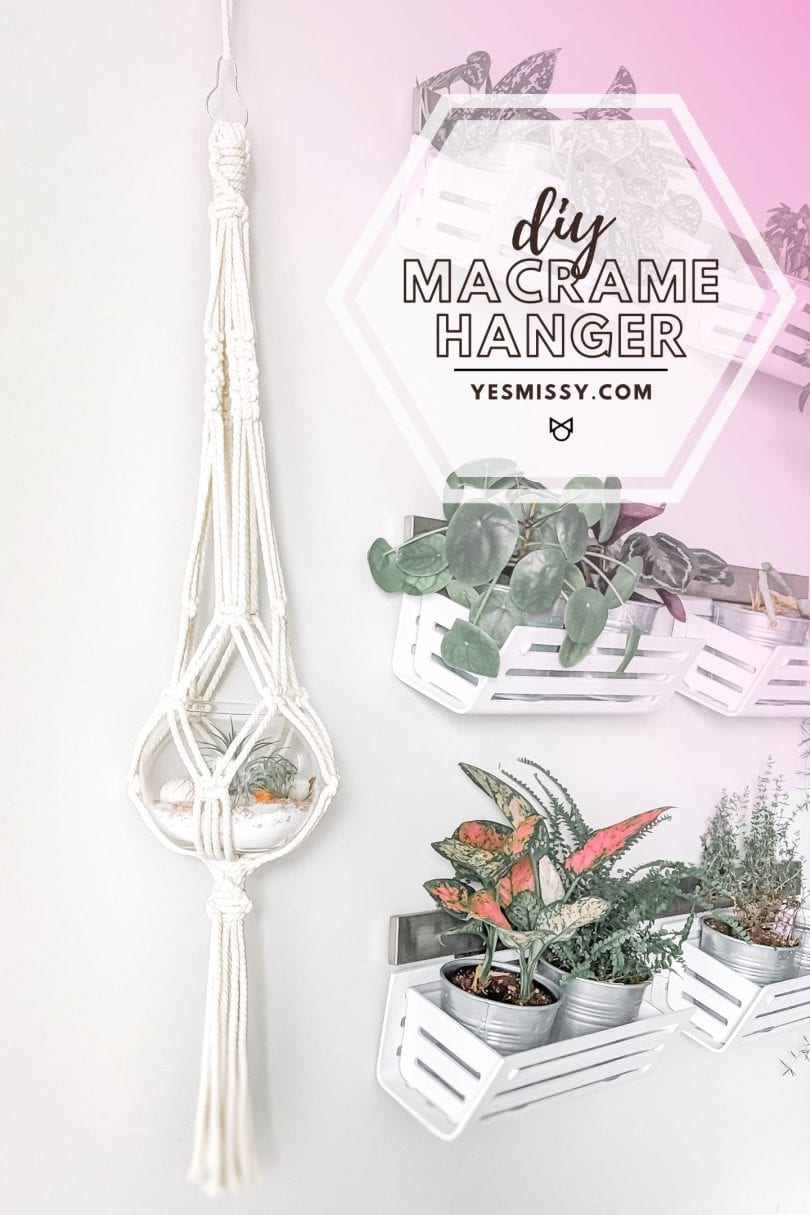 Learn how to make this DIY macrame plant hanger with step by step instructions on yesmissy.com