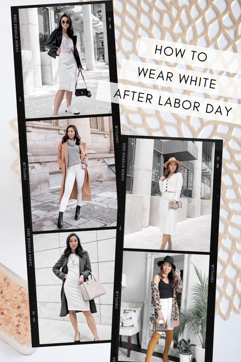 Tips on how to wear white after labor day in fall and winter with 5 outfit ideas, along with tips and tricks from yesmissy.com