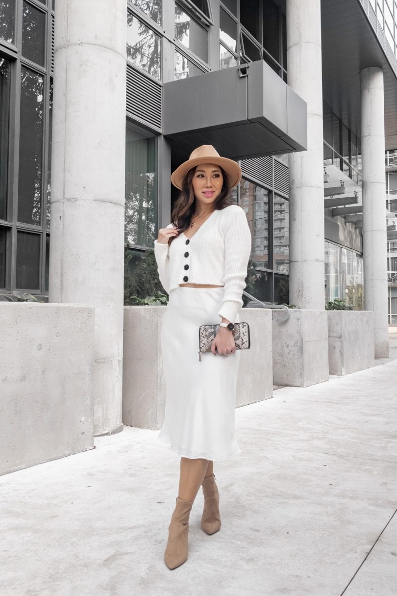 Streetstyle outfit inspiration: all white look with cardigan and silk skirt with tan booties and hat style by Eileen Lazazzera of YesMissy.com