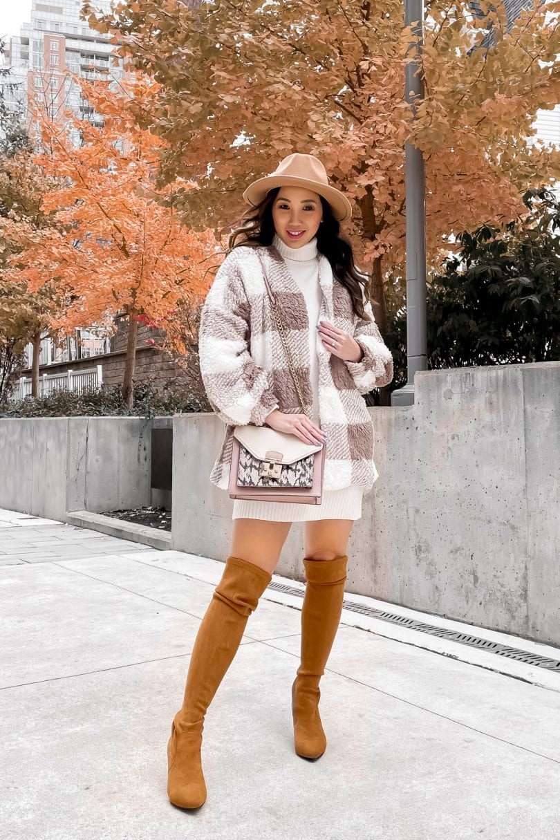 Fall outfit ideas: check coat, sweater dress, OTK boots