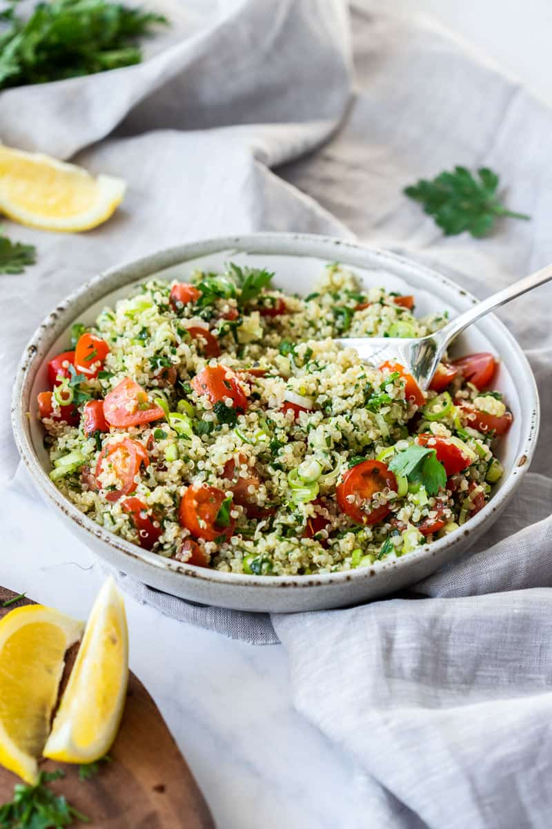 12 Delicious Easy Salad Recipes -  Quinoa Tabouli is a gluten-free spin on a classic Middle Eastern dish.