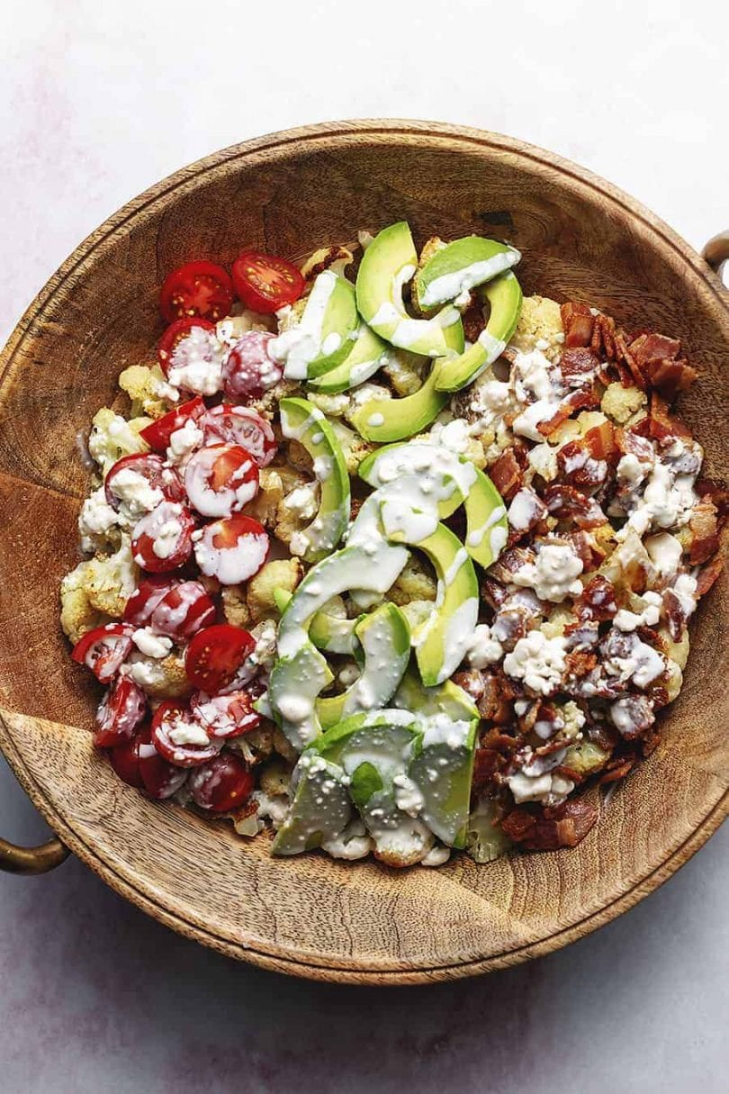 12 Easy Salad Recipes that taste delicious - Roasted Cauliflower Cobb Salad