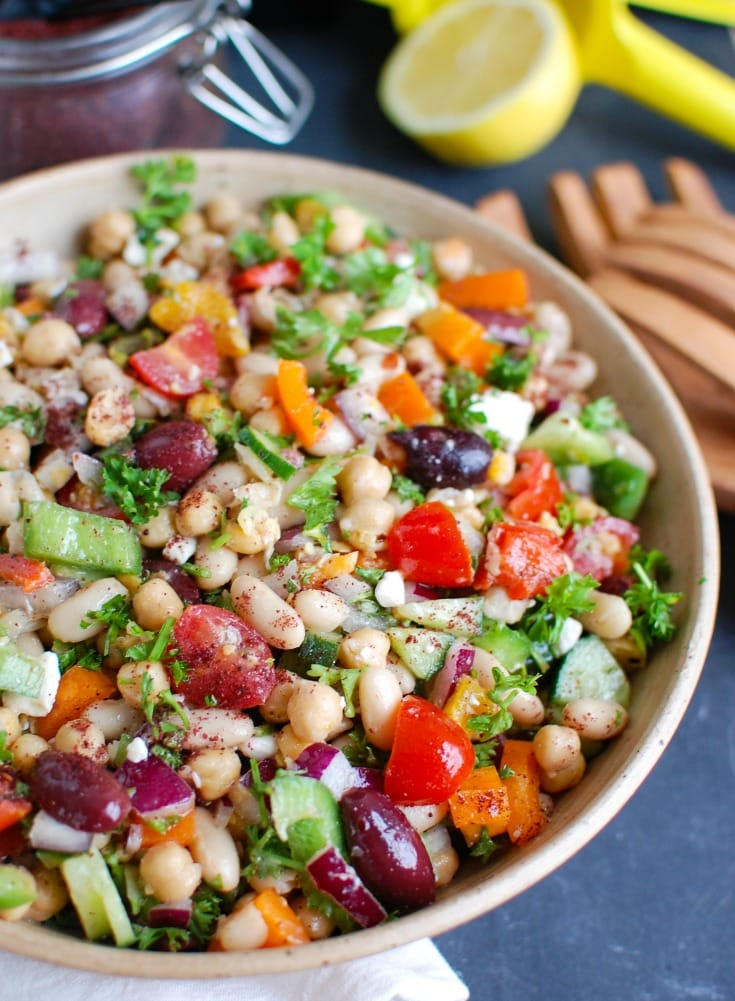 Mediterranean Bean Salad in bowl