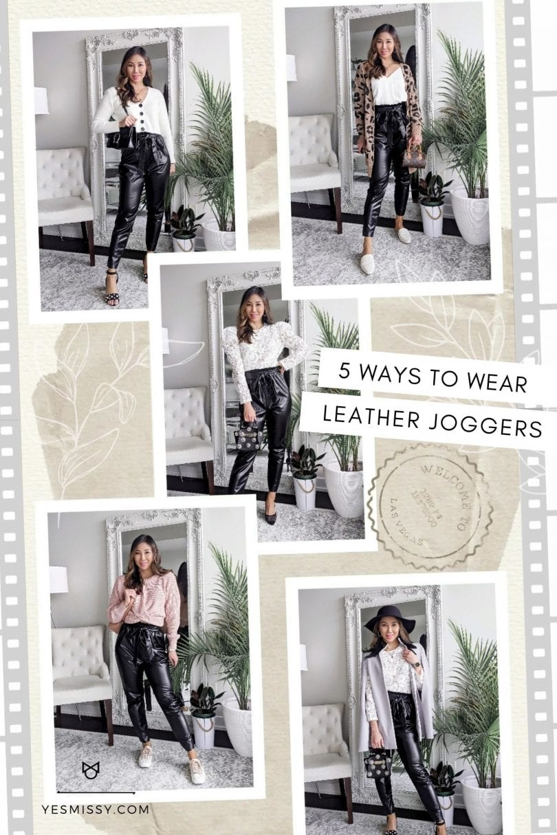Leather jogger outfits - ways to wear leather pants casually, dressed up and more on yesmissy.com