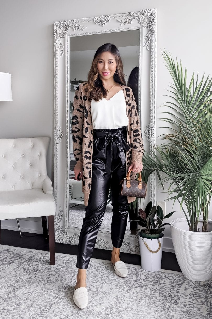 Fall outfit ideas - faux leather joggers with leopard cardigan and loafter style mules by Eileen Lazazzera from yesmissy.com