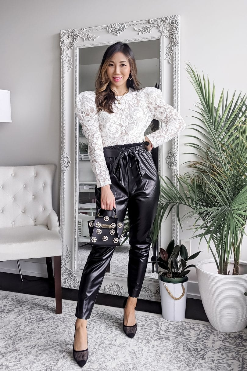 Leather pants oufits - leather jogger with lace bodysuit