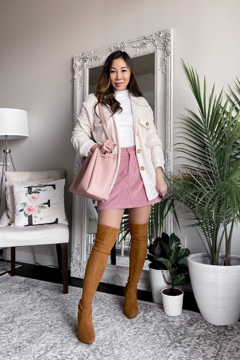 Fall outfit ideas for layering - shacket, OTK boots and drawstring skirt.  More on yesmissy.com