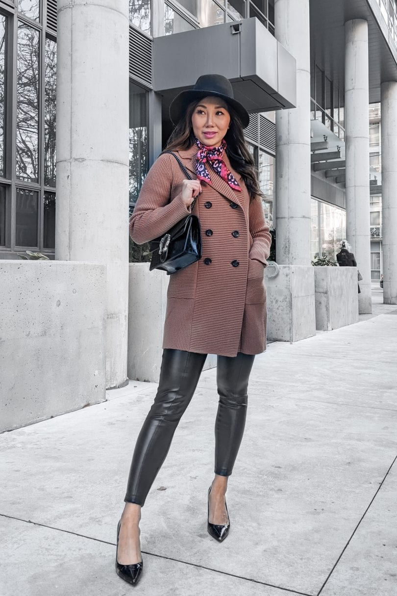 Casual fall outfit ideas for every day - faux leather legging, coatigan and wool fedora. Styled by Eileen Lazazzera of yesmissy.com