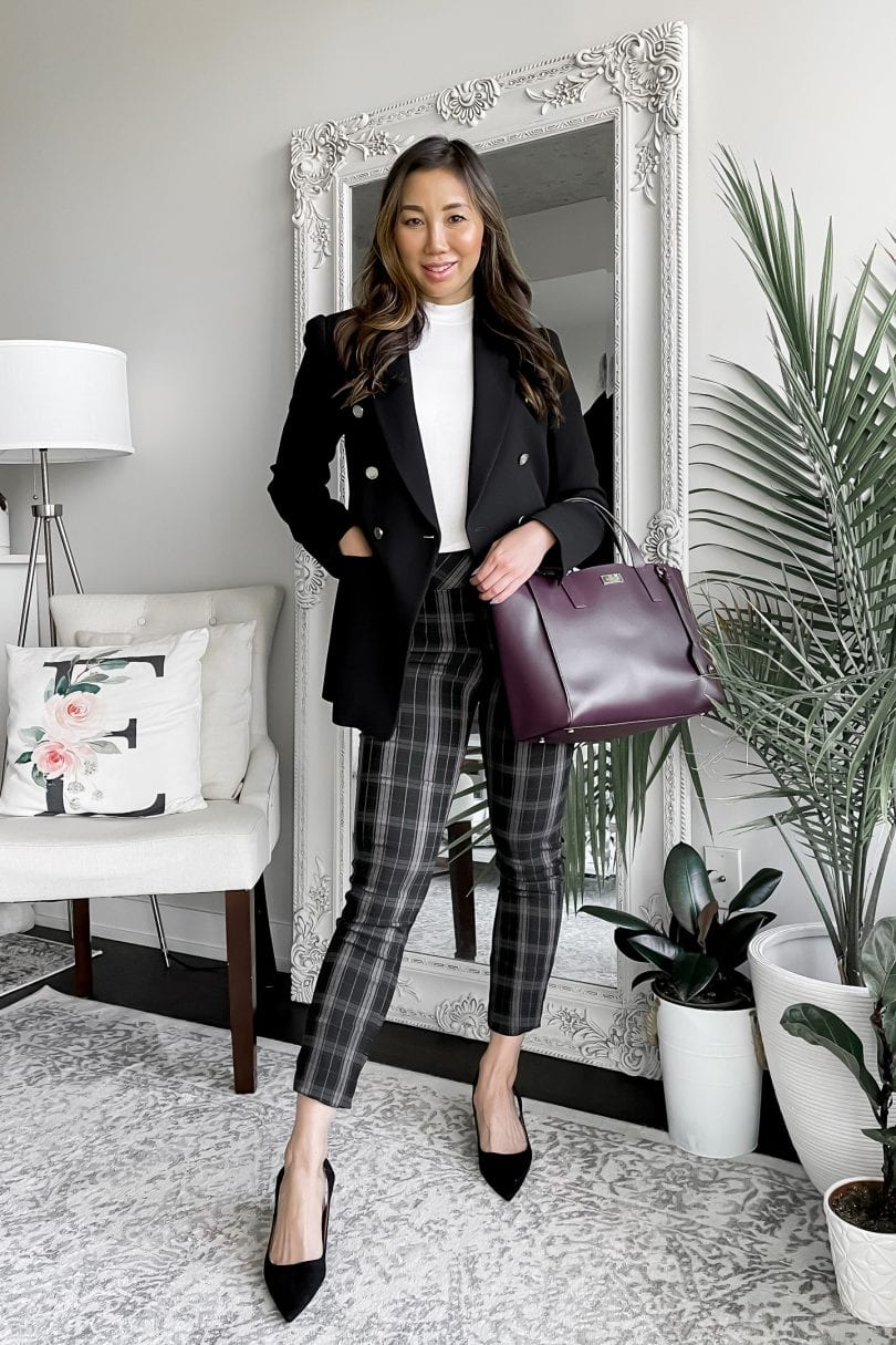 Fall outfit ideas for work - plaid pants, turtleneck and blazer