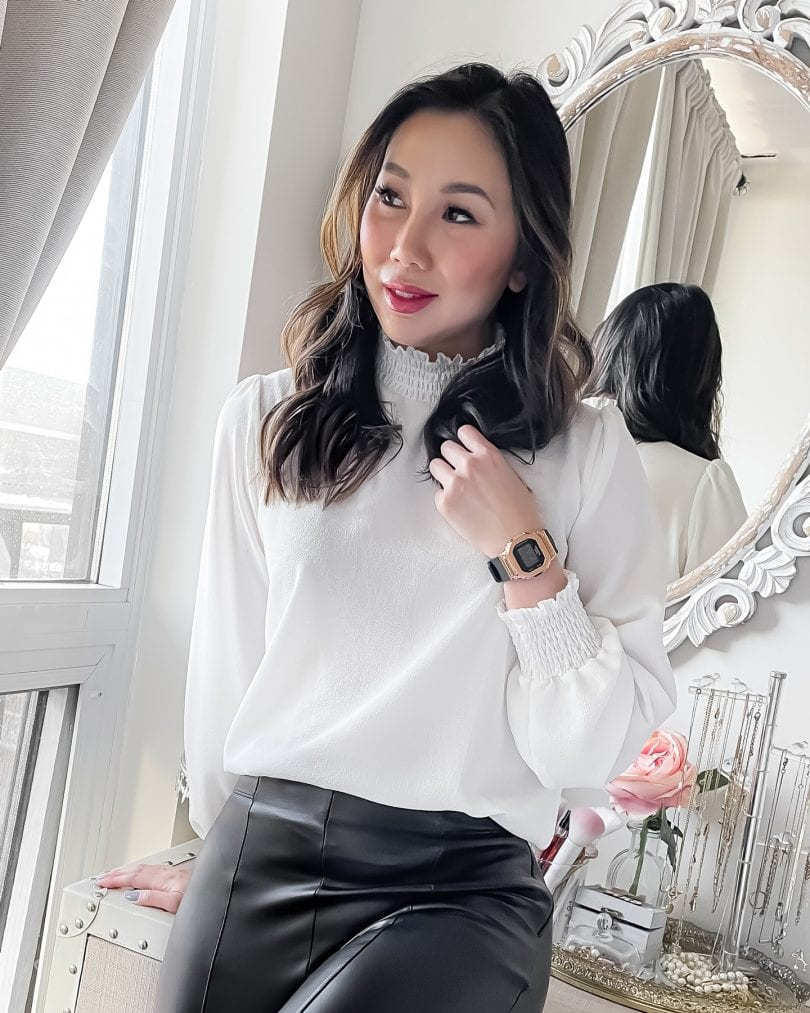 YesMissy styles the Casio G-Shock GMS5600 watch with leather leggings and white blouse for a chic minimlist look