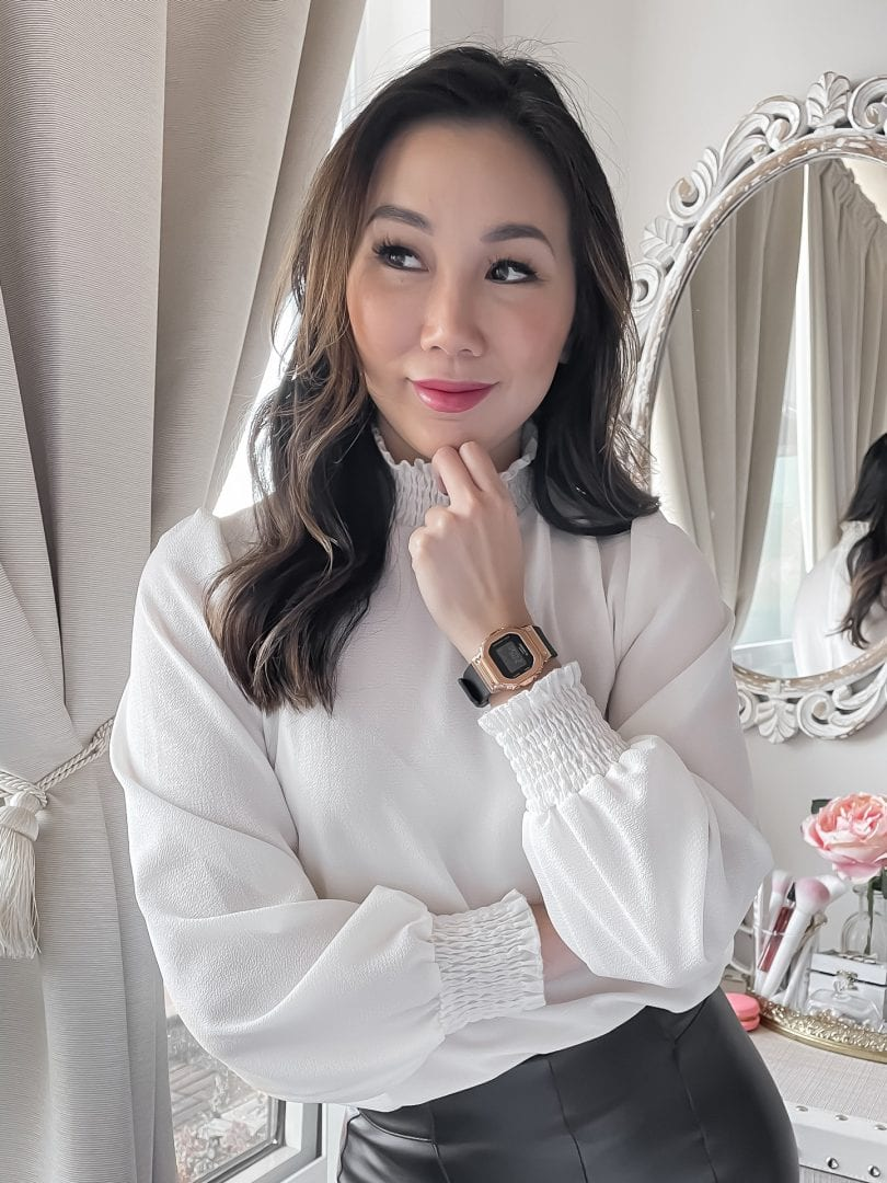 Eileen Lazazzera styles the Casio G-Shock GMS5600 watch with a white blouse and leather pants