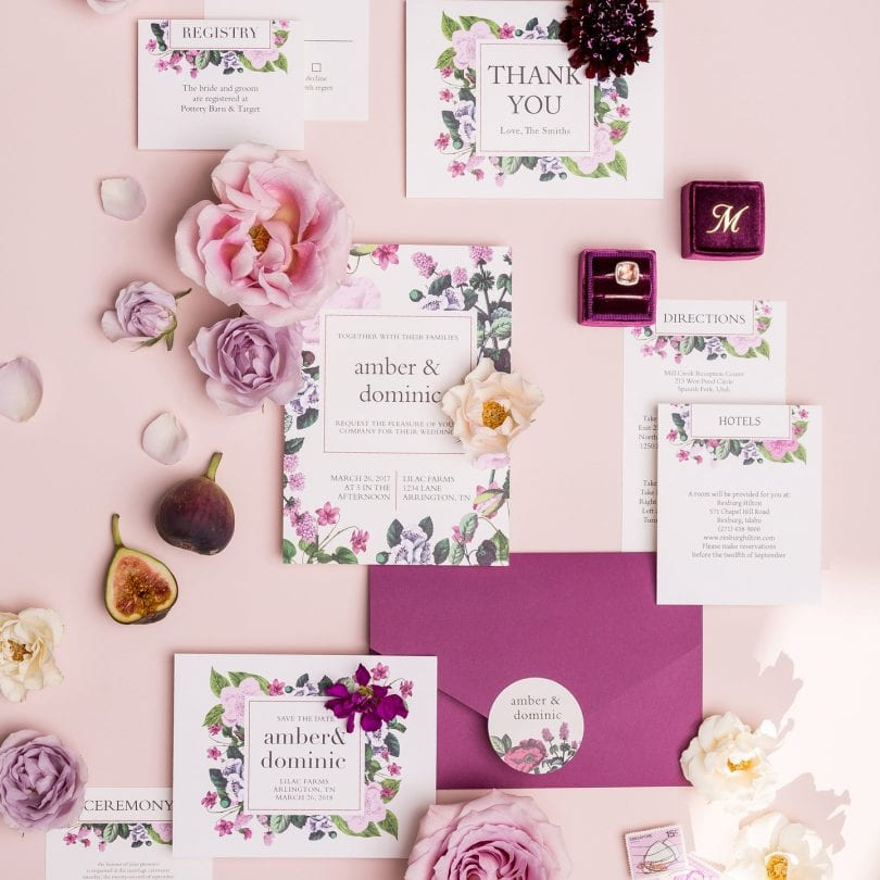 Vintage botanical wedding invitation by Basic Invite