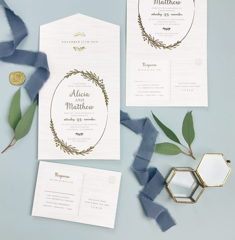 Elegant wedding invitation cards, save the dates, rsvps and more from Basic Invite