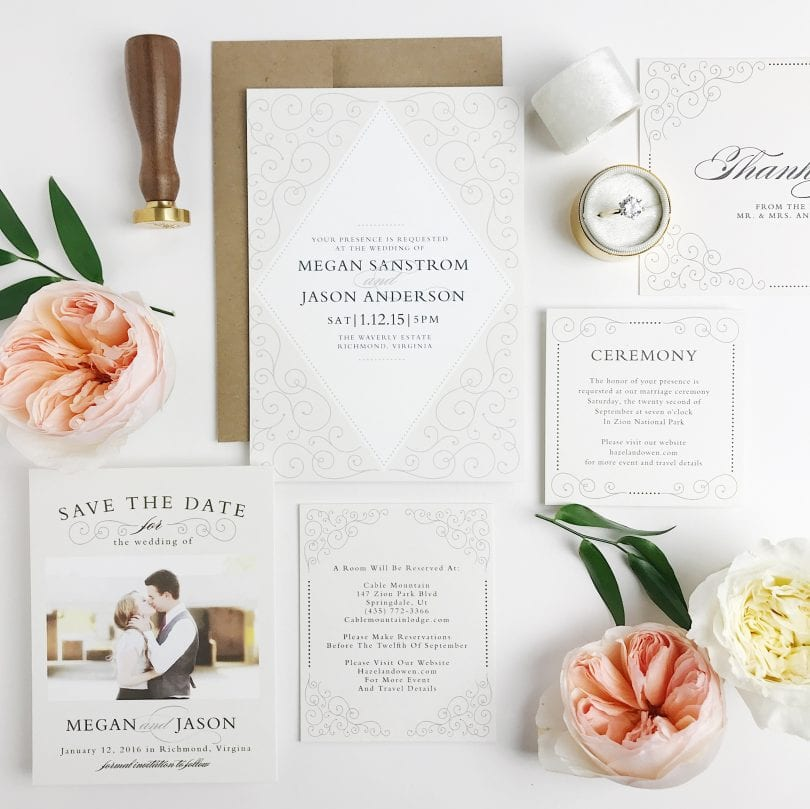 Wedding invitation suites that include that include save the dates, wedding invitations, enclosure cards, wedding menus, wedding programs, and even matching thank you cards