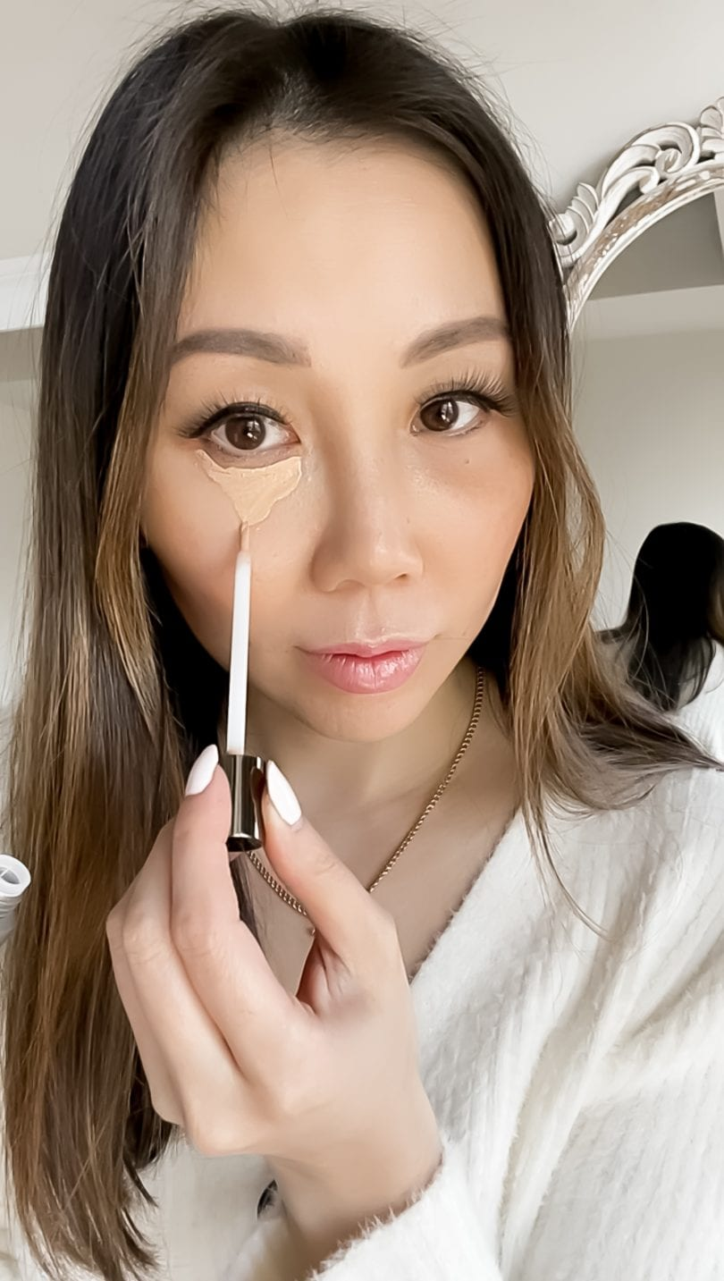 Applying concealer in a v-shape will brighten the undereye area. Get the full tutorial at yesmissy.com