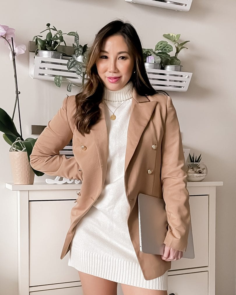Work from home outfit - Sweater dress and blazer