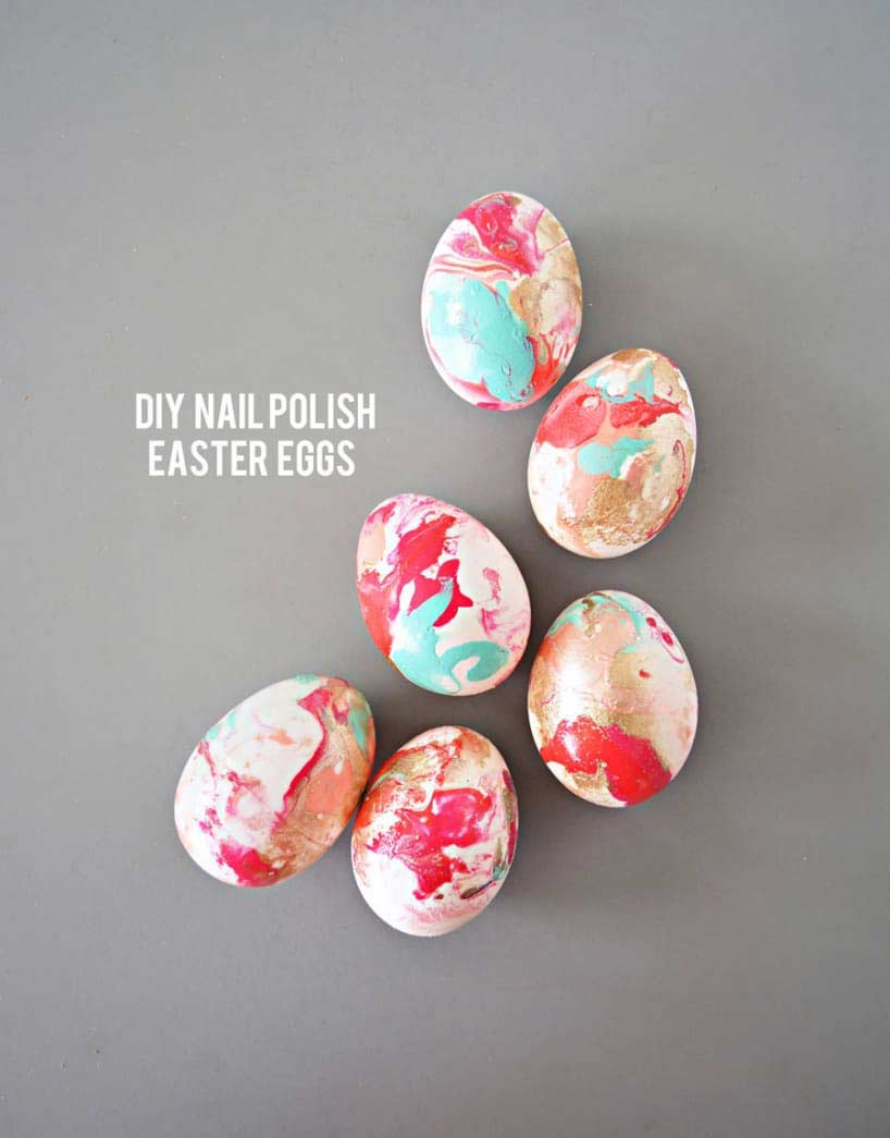 15 DIY Easter Egg Ideas - DIY nail polish easter eggs