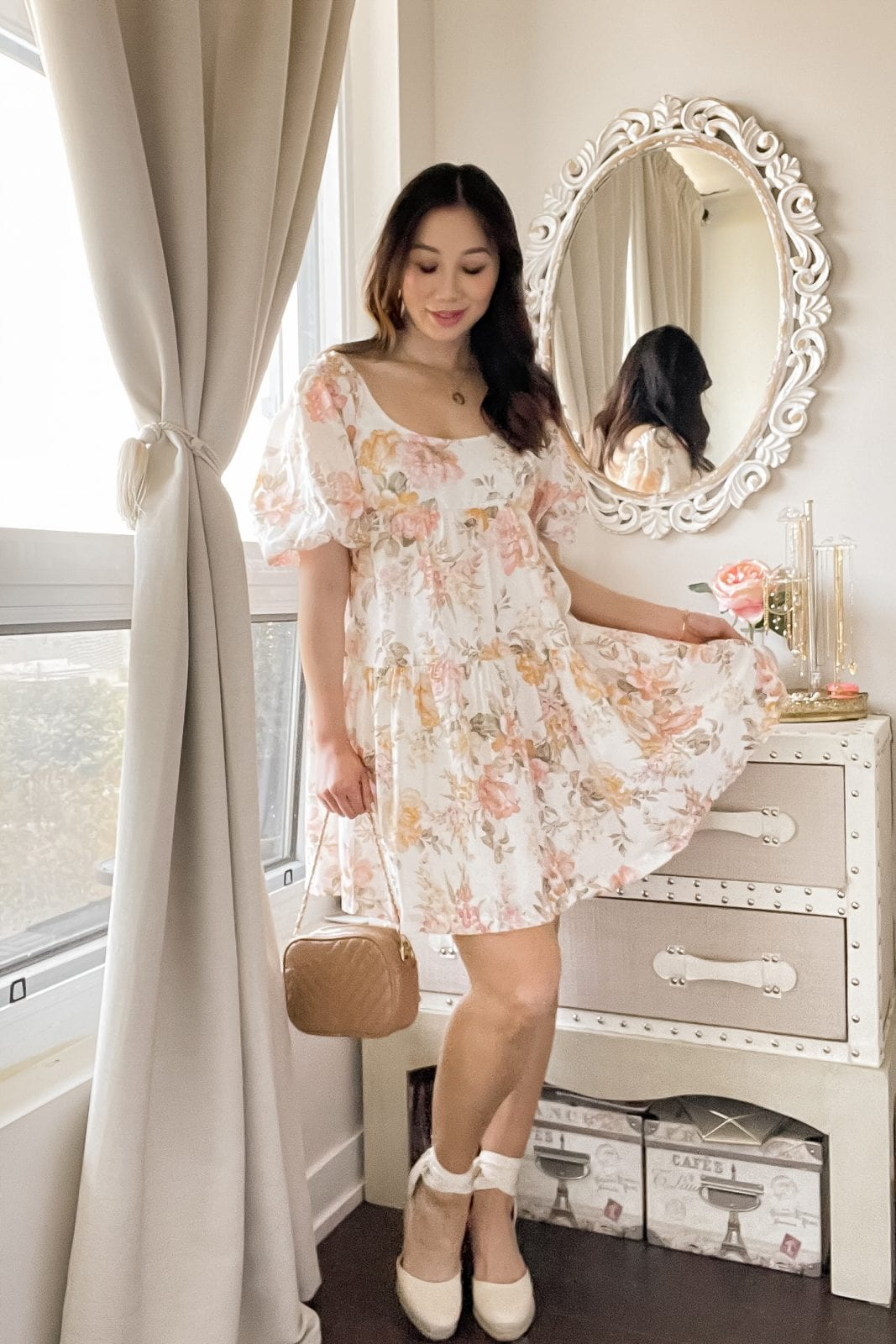 Flowy floral summer dress styled by Eileen Lazazzera of yesmissy.com