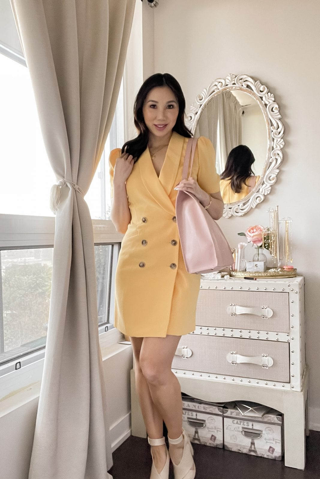 Reinvent your workwear look with this sleek blazer dress and bring a pop of color to your office wardrobe. Check out yesmissy.com for outfit ideas!
