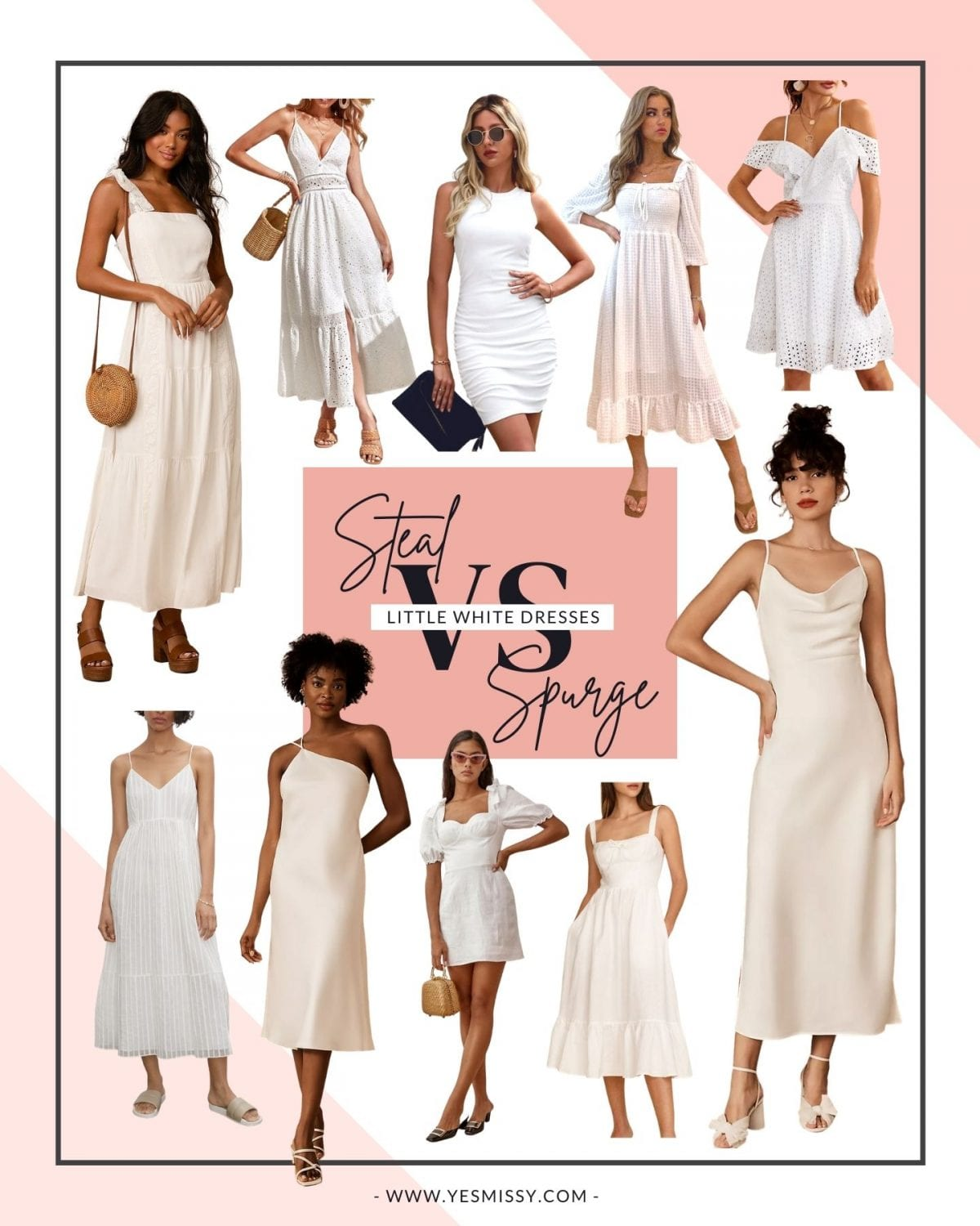 Little white dresses for summer! Splurge vs Steal? Whether you're looking for a deal or a designer dress, here are some of the best places to shop for them. Check it out on yesmissy.com