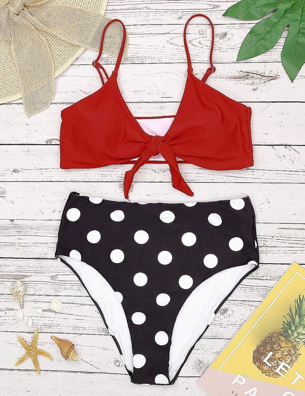 Amazon bikini's under $40 - polkdot high waisted bikini