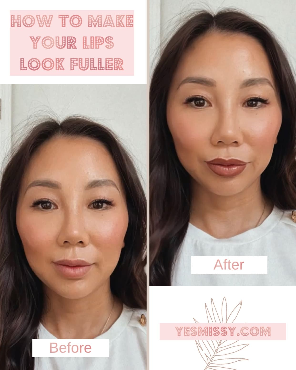 Before and after - How to get fuller lips with this easy makeup trick. Learn more at yesmissy.com