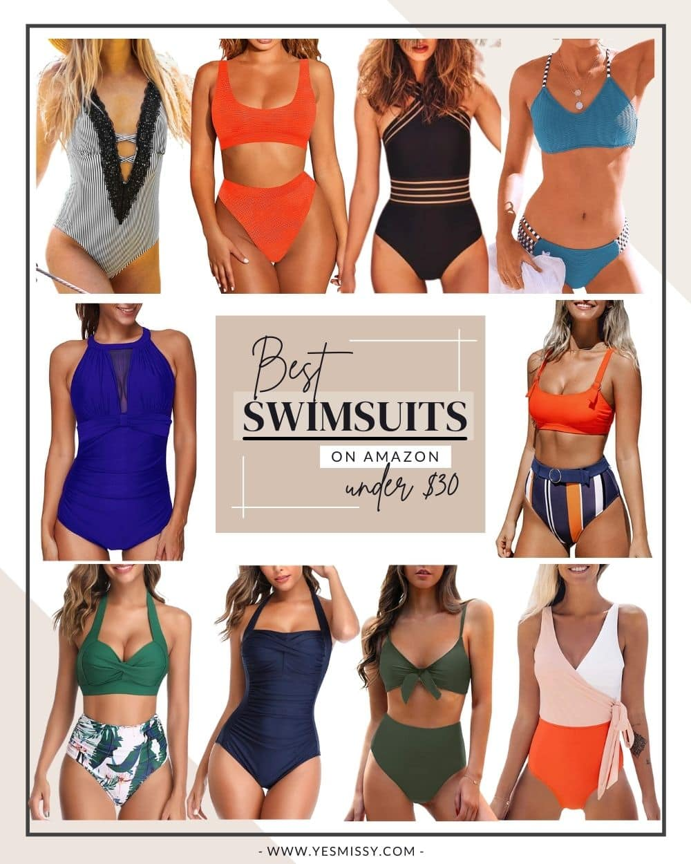 A roundup of the best selling swimsuits on Amazon. Whether you're looking for a bikini or one piece. Here are 10 of the top rated bathing suits under $30 that you'll find on Amazon! Visit yesmissy.com for all the links!