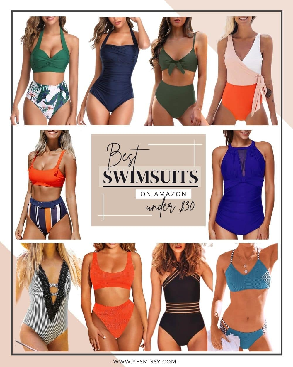A roundup of the best selling swimsuits on Amazon. Whether you're looking for a bikini or one piece. Here are 10 of the top rated bathing suits under $30 that you'll find on Amazon