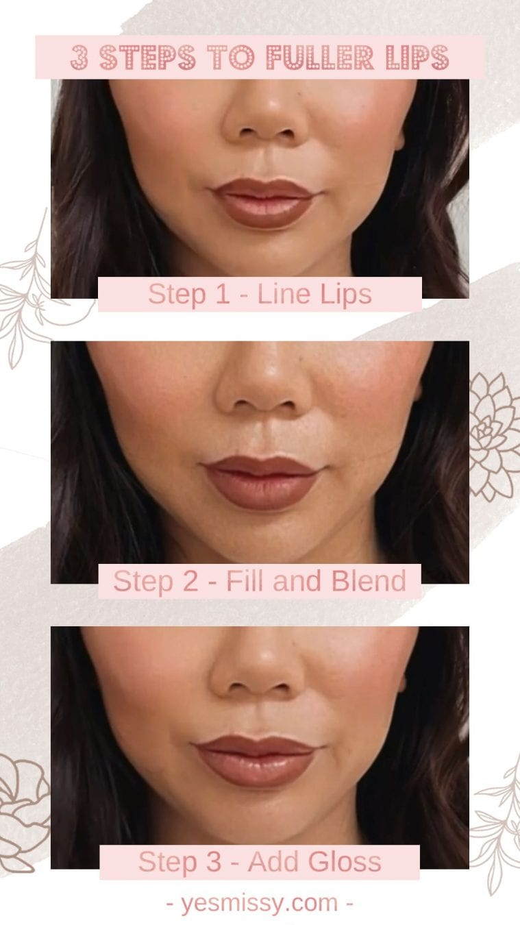 3 Steps to fuller lips - makeup tips to contour your lips to make them look fuller. Visit yesmissy.com for the full tutorial