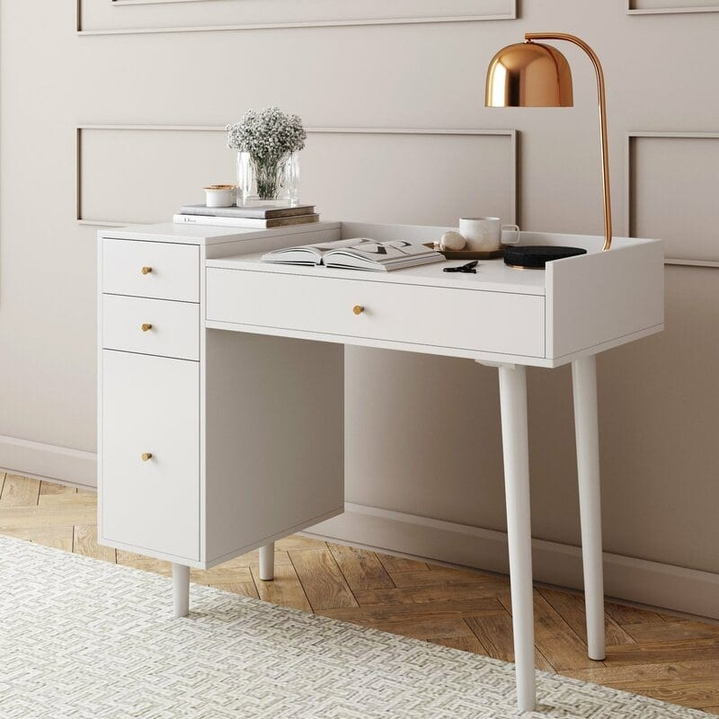 Mid century style desk from Wayfair. Chic and versatile, and can be used as a desk or vanity!